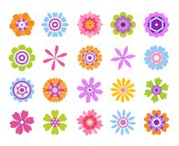Free Cartoon Flower Icons. Summer Cute Girly Stickers, Modern Flowers Clip Art Icon Set. Vector Pretty Nature Graphic Royalty Free Stock Photos - 150040098
