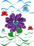 Cartoon flower on isolated background Royalty Free Stock Images