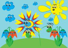 Cartoon flower on isolated background Royalty Free Stock Image