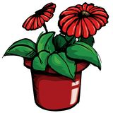 Cartoon of flower pot Stock Photos