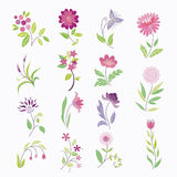 Cartoon flower set Stock Photos