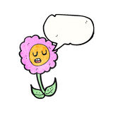 Cartoon flower with speech bubble Royalty Free Stock Photo