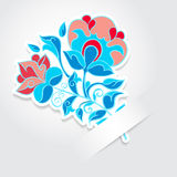 Cartoon flower sticker with text place Royalty Free Stock Images