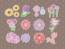 Cartoon flower stickers Stock Images