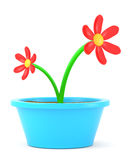 Cartoon flowers. In pot isolated on white. Made in 3d Royalty Free Stock Image