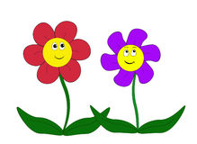 Cartoon flowers Stock Images