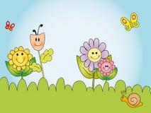 Cartoon flowers. Illustration of cartoon happy flowers Stock Photo