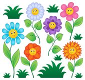 Cartoon flowers collection Stock Photography