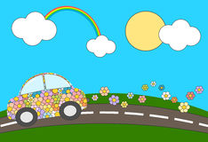 Cartoon flowers eco green car moving in a sunny day Royalty Free Stock Photos