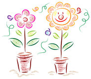 Cartoon flowers. Cartoon flower with butterfly illustrated image Royalty Free Stock Photo