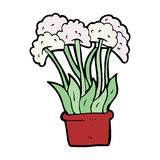 Cartoon flowers in pot Stock Photo