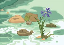 Cartoon flowers stones and brook. Illustration of cartoon landscape. Cartoon flowers stones and brook Royalty Free Stock Photography