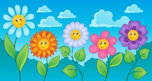 Cartoon flowers theme Royalty Free Stock Image