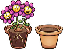 Cartoon flowers. With visible roots and flower pot. Vector clip art illustration with simple gradients. Some elements on separate layers royalty free illustration