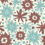 Cartoon flowers. On a white background in seamless pattern Stock Image