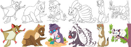 Cartoon fluffy animals set. Cartoon animal set. Childish collection of fluffy squirrel, marten, mole, porcupine, weasel, opossum. Coloring book pages for kids royalty free illustration