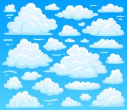 Cartoon fluffy cloud at azure skyscape. Heavenly clouds on blue sky, atmospheric cloudscape vector illustration stock illustration