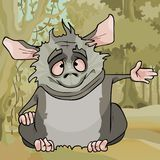 Cartoon fluffy cute gray animal sitting in the forest stock illustration