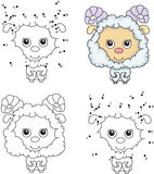 Cartoon fluffy sheep. Coloring book and dot to dot game for kids Stock Photos
