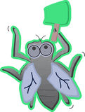 Cartoon Fly with swatter Royalty Free Stock Photo
