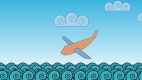 cartoon Flygplankrasch i havvågorna stock illustrationer