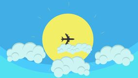 Cartoon Flying Airplane Crossing The Sun in Blue Sky and Clouds stock video