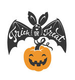 Cartoon flying bat with spread wings and Trick or Treat text written on it holding Halloween pumpkin lantern isolated on. White background. Vector illustration Stock Photography