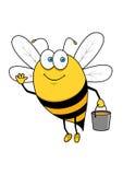 Cartoon flying bee with honey bucket waving hand Stock Photos