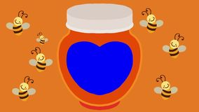 Cartoon Flying Bees and a Honey Jar with a Blue Label royalty free illustration
