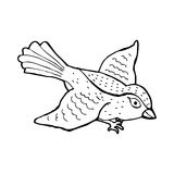 Cartoon flying bird. Black and White Line cartoon in retro style.  Vector available Royalty Free Stock Photos