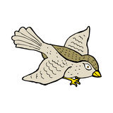 Cartoon flying bird. Hand drawn cartoon illustration in retro style.  Vector available Royalty Free Stock Photography