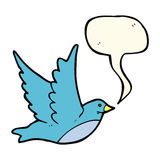 Cartoon flying bird with speech bubble Royalty Free Stock Image