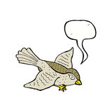 Cartoon flying bird with speech bubble Stock Photo