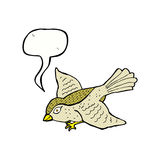 Cartoon flying bird with speech bubble Stock Photos