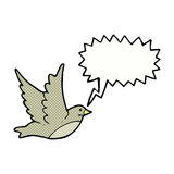 Cartoon flying bird with speech bubble Stock Photography