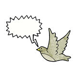 Cartoon flying bird with speech bubble Royalty Free Stock Images