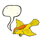 Cartoon flying bird with speech bubble Royalty Free Stock Photography