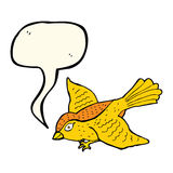 Cartoon flying bird with speech bubble Stock Images