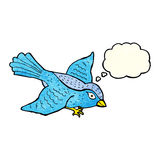 Cartoon flying bird with thought bubble Royalty Free Stock Images