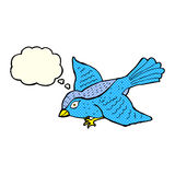 Cartoon flying bird with thought bubble Royalty Free Stock Photos