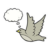Cartoon flying bird with thought bubble Stock Photography