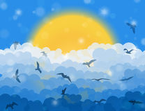 Cartoon flying birds in clouds on sun and blue shining sky background Royalty Free Stock Photos