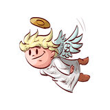 Cartoon flying cute angel. Colorful vector illustration of a cute flying angel Royalty Free Stock Photo