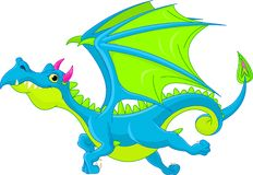 Cartoon flying dragon royalty free illustration