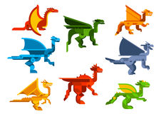 Cartoon flying dragons flat icons Stock Photography