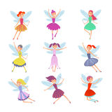 Cartoon flying fairies in colorful dresses vector set. Cute fairy elf with winds vector collection. Fantasy fairy girl with wings illustration Royalty Free Stock Photography