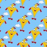 Cartoon Flying Kite Seamless Pattern Stock Photos
