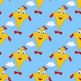 Cartoon Flying Kite Seamless Pattern Stock Photos
