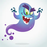 Cartoon flying monster. Vector Halloween illustration of smiling purple ghost with hands up.  Stock Photos