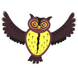 Cartoon flying Owl Royalty Free Stock Photography